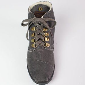 Toms gray canvas fleece lined flat ankle bootie